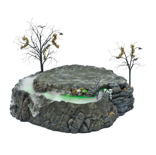 Department 56 Snow Village Halloween Foggy Point Platform Display for Lit House with Fog and Lighting Effects