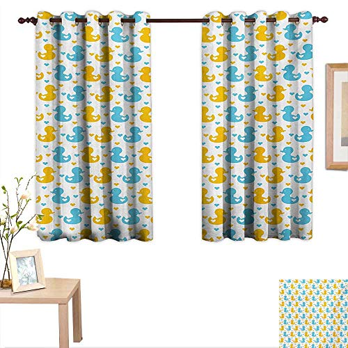 - Rubber Duck Decor Curtains by Baby Ducklings Pattern with Little Hearts Love Animals Print Nursery Room 63