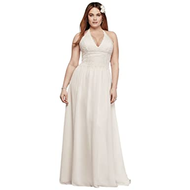 Sample As Is Plus Size Lace Sheath Halter Wedding Dress Style
