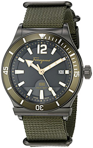(Salvatore Ferragamo Men's FF3230015 Ferragamo 1898 Sport Analog Display Quartz Green Watch)