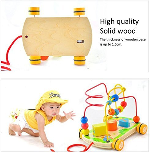Wooden Toy Bead Maze Toys Coaster Rolling with Pull Along String Rope and Shape Sorter puzzle for Kids Early Education