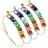 Bling Toman Chakras Bracelet Gemstone Yoga Healing Bracelets Lava Beaded Bangle Bracelets Diffuser Bracelets for Women Girls 8mm Chakra Beads