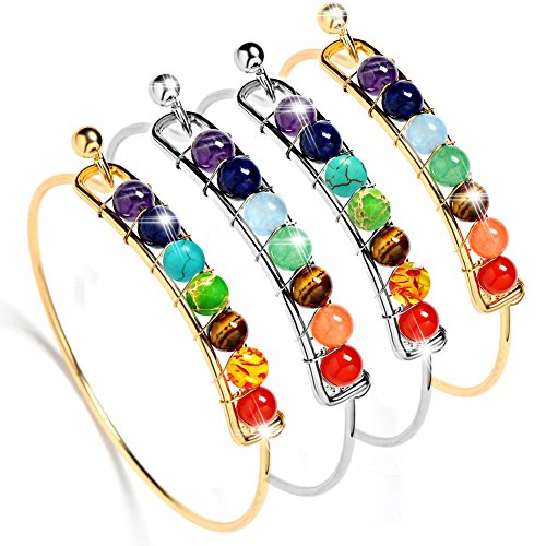 s Gemstone Bangle Beads Bangle Bracelet Yoga Reiki Healing Bracelets for Women (Gold&Silver 4 PCS) ()