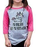 7 ate 9 Apparel Funny Girls Unicorn Ate My Homework School Baseball Tee Pink Small