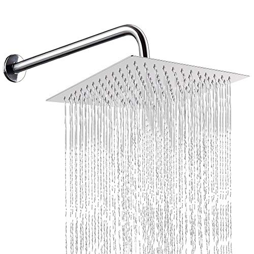 12 Inch Shower Head With 15 Inch Extension Arm, NearMoon Square Rain Shower Heads, High Pressure Large Stainless Steel Rainfall ShowerHead With Shower Arm Waterfall Full Body Coverage Easy To Install ()