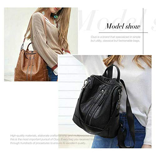 Women Fashion Bag Daypack black Ladies 2 Travel Leather PU School Purse Backpack Shoulder UqAUgO