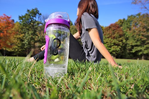 Live Infinitely 32 oz. Infuser Water Bottles - Featuring First Ever Gel Freezer Ball Infusion Rod, Flip Top Lid, Larger Dual Hand Grips & Recipe Ebook Gift (Purple Polar Edition, 32 Ounce)