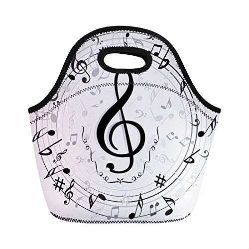 Semtomn Neoprene Lunch Tote Bag Black Music Note Microphone Piano Silhouette Abstract Bass Border Reusable Cooler Bags Insulated Thermal Picnic Handbag for Travel,School,Outdoors,Work