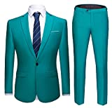 WULFUL Men's Suit One Button Slim Fit 2 Piece Suit for Men Casual/Formal/Wedding