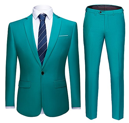 WULFUL Men's Suit One Button Slim Fit 2 Piece Suit for Men Casual/Formal/Wedding Party/Tuxedo Green ()