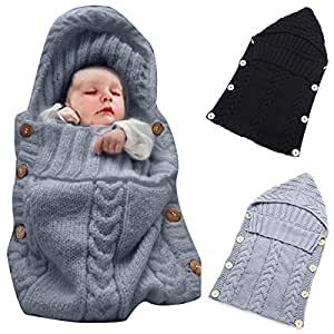 Colorful Newborn Baby Wrap Swaddle Blanket, Oenbopo Baby Kids Toddler Knit Blanket Swaddle Sleeping Bag Sleep Sack Stroller Wrap for 0-12 Month Baby (Grey)