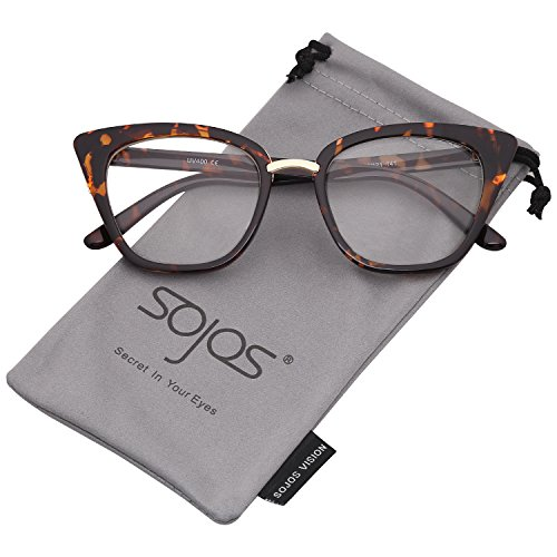 SojoS Cat Eye Brand Designer Sunglasses Fashion UV400 Protection Glasses SJ2052 with Tortoise Frame/Clear - Frames Glasses Without Prescription