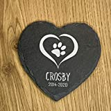"""TULLUN Personalized Memorial Heart Shape Plaque for Pet Cat Dog Slate Stone Frame Paw Grave Marker - Name - Size 