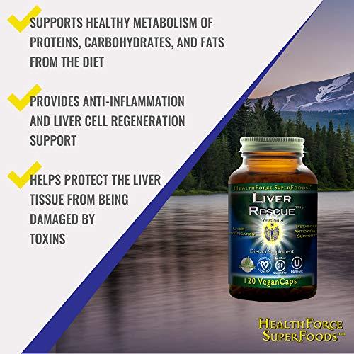 HealthForce SuperFoods Liver Rescue - 120 Vegan Capsules - All Natural Liver Detoxifier & Regenerator Supplement with Milk Thistle & Dandelion Root - Organic, Gluten Free - 60 Servings by HEALTHFORCE SUPERFOODS (Image #2)