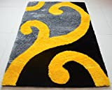 All New Contemporary Swirl Design Shag Rugs by Rug Deal Plus (5' x 7', Yellow/Grey/Black)