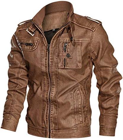 Chaqueta clásica de cuero de pu para hombre chaqueta de motociclista con cuello alto chaqueta con cremallera