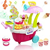 Buyger 43pcs Plastic Mini Popcorn Cart Lights Music Role Play Shop Game Pretend Ice Cream Kids