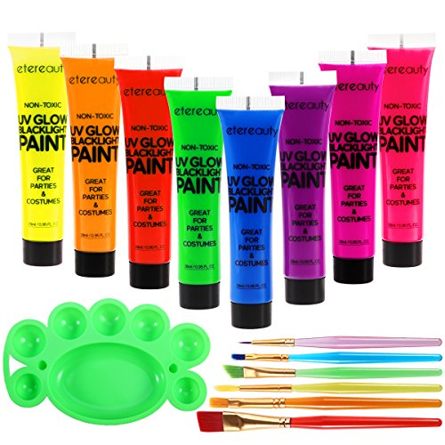 ETEREAUTY UV Glow Blacklight Face and Body Paint 1-oz, Set of 8 Tubes with 6 Brushes and a Mixing Palette by  (Image #3)