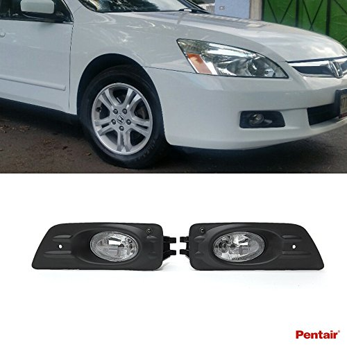 Pentair 2pcs Aftermarket JDM Clear Lens Fog Lights Kit With Light Bulbs+Cover+Switch+Wiring Harness+Relay+Bracket & Necessary Mounting Hardware For 2006-2007 Honda Accord 4-Door Sedan (4 Door Sedan Models)