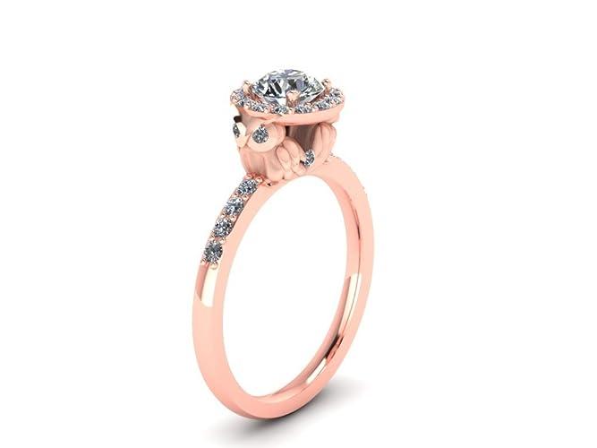 Amazoncom Diamond Owl Halo Engagement Ring with Diamond Shank