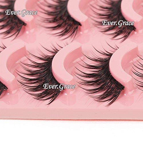 Makeup 5 Pairs Natural Long Fake Eye Lashes Handmade Thick False Eyelashes Black ever.grace
