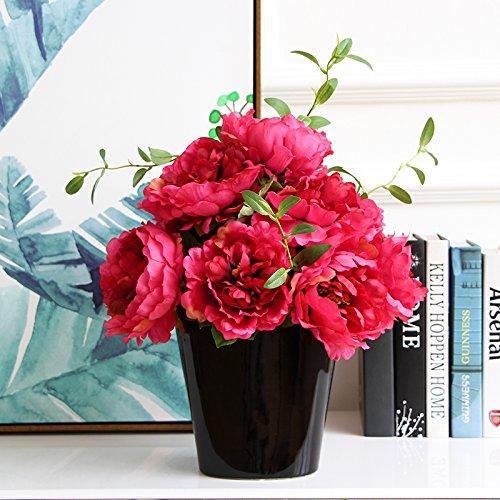SYHOME Planta de Flores Artificiales adornos Mesa Peony ...