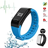 Pandaoo Fitness Tracker Fitness Watch Smart Bracelet with Heart Rate Moniter Blood Pressure Blood Oxygen Pdeometer Sleep Monitoring Calories Track for Daily Activity and Sleeping for AndroidIOS -Blue