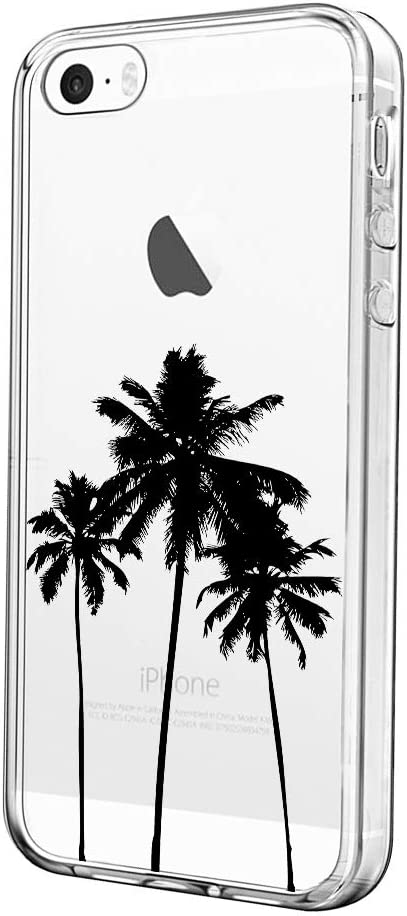uCOLOR Clear Case Compatible with iPhone 5S/5/SE1 (2016) Cute Protective Case Coconut Palm Tree Slim Soft TPU Silicon Shockproof Cover for iPhone SE 1st 2016 /5S/5