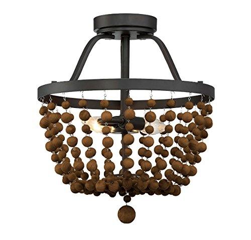 (Trade Winds Lighting TW022068ORB Wood Bead Basket Ceiling Semi Flush Mount in Oil Rubbed Bronze)