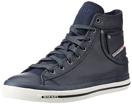 Diesel Exposure I Navy White Leather Mens Hi Trainers Boots-12