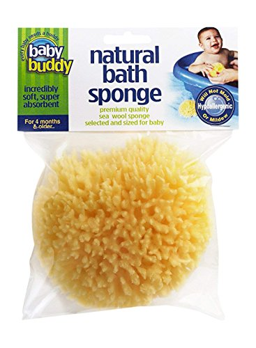 "(Baby Buddy's Natural Baby Bath Sponge 4-5"" Ultra Soft Premium Sea Wool Sponge Soft on Baby's Tender Skin, Biodegradable, Hypoallergenic, Absorbent Natural Sea Sponge)"