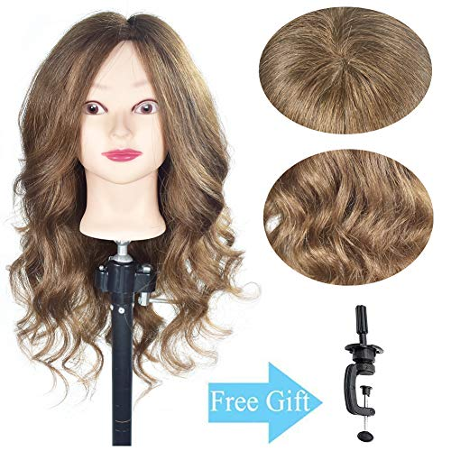 20-22100% Human Hair Mannequin Head Cosmetology Training Practice Head Styling Dye Cutting Manikin Doll Head with a Free Table Clamp Holder