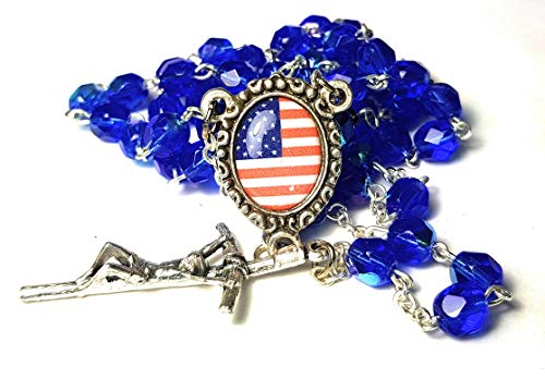 Crystal glass Rosary blessed by Pope Francis First Communion Confirmation Vatican Rome Holy Father Beads Papal Cross Crucifix PATRIOTIC GOD BLESS USA FLAG - Crystal Crucifix