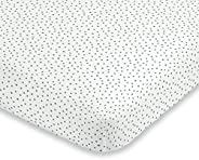ED Ellen DeGeneres Painterly Floral - Soft 100% Cotton Grey & White Dot Fitted Crib Sheet, Grey, W