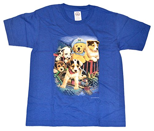 Model Railroad Puppies - Cute Kids T-Shirt with Silkscreen Design - Royal Blue (Youth - Large)