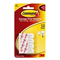 Command Refill Strips, Small, White, 20-Strips (17022-ES)
