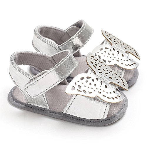 Ocamo Hollowed Out Butterfly Sandals with Silica Gel Soles, Skin Friendly & Cozy Sandals for Babies Silver