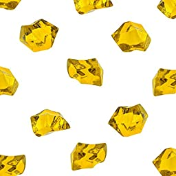 Acrylic Color Ice Rock Crystals Treasure Gems for Table Scatters, Vase Fillers, Event, Wedding, Birthday Decoration Favor, Arts & Crafts (385 Pieces) by Super Z Outlet (Yellow)