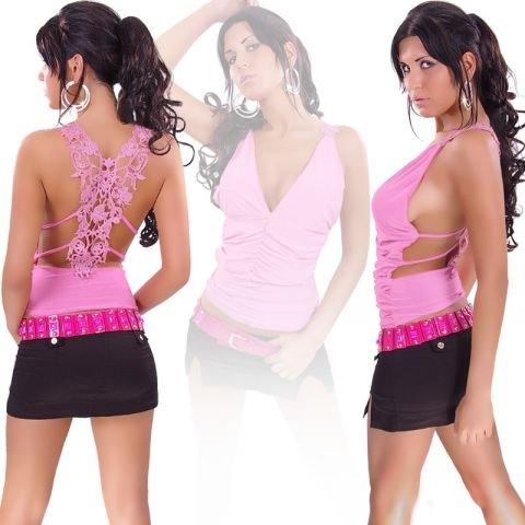 In Style Mujer Camiseta Top con bordado Talla Única (32–�?8) rosa 36/38