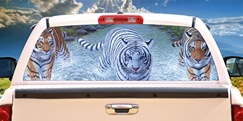 Price comparison product image Tiger & White Tiger Wet & Wild Rear Window Mural,  Decal,  or Tint( Choose Size or send your own measurements)