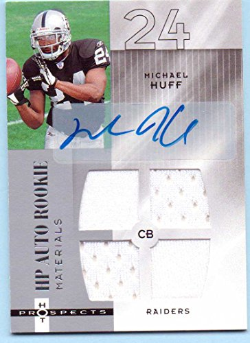 Michael Huff 2006 Fleer Hot Prospects Quad Rookie Worn Jersey Rookie Autograph Rookie #211 - 897/999 - Oakland (Quad Autograph)