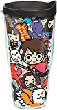 Tervis 1267929 Harry Potter - Group Charms Tumbler with Wrap and Black Lid 24oz, Clear