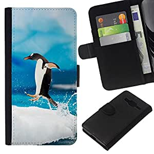 NEECELL GIFT forCITY // Billetera de cuero Caso Cubierta de protección Carcasa / Leather Wallet Case for Samsung Galaxy Core Prime // Pingüino feliz Jump