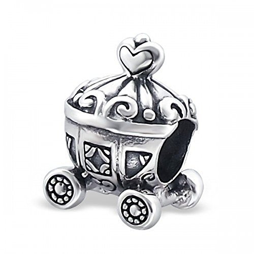 Designer Silver Charms - Designer Inspirations Boutique ® Cinderella Carriage Sterling Silver Charm Bead - Disney Style - Great Detail - Fits European Charm Bracelets