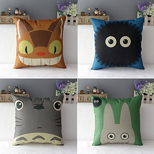 WOMHOPE 4 Pcs Studio Ghibli My Neighbor Totoro Series - Cotton Linen Throw Pillow Case Cushion Cover Square Throw Cover, 18x18 Inches (A (Set of 4)) (Bedding Studio Sets)