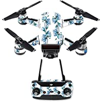 Skin for DJI Spark Mini Drone Combo - Blue Vines| MightySkins Protective, Durable, and Unique Vinyl Decal wrap cover | Easy To Apply, Remove, and Change Styles | Made in the USA