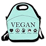 vegan lunch box - Faverlkujj ANIMAL RIGHTS Vegan Vegetarian Lunch Bags Insulated Travel Picnic Lunchbox Tote Handbag With Shoulder Strap For Women Teens Girls Kids Adults