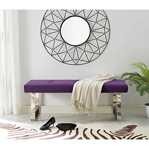 Kathy Ireland Upholstered Chair (Oliver Stainless Steel Purple Velvet Bench | Button Tufted | Chrome Legs | Living-room Entryway | Modern & Contemporary by Inspired Home)