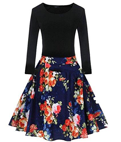 6 High Dress Womens Floral CMC Pleated Flare Long Stylish Waist Sleeve zv4wnxqIdw