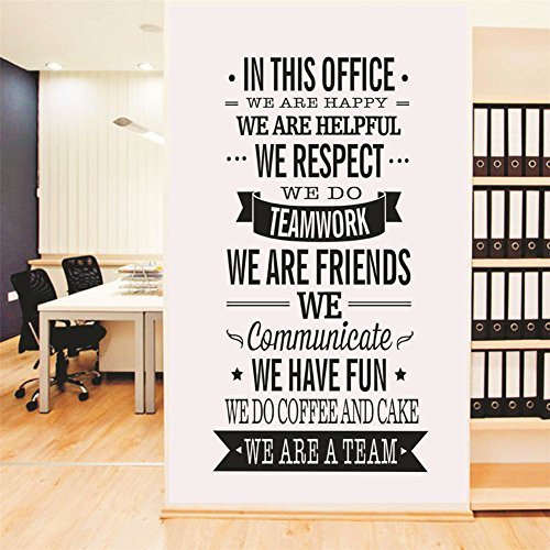 AmazingWall 57X120cm/22.4x47.2 in This Office English Word Wall Sticker Living Room Bedroom Kids' Room Nursery Decor Home Decorations Removeable 1PCS/Set